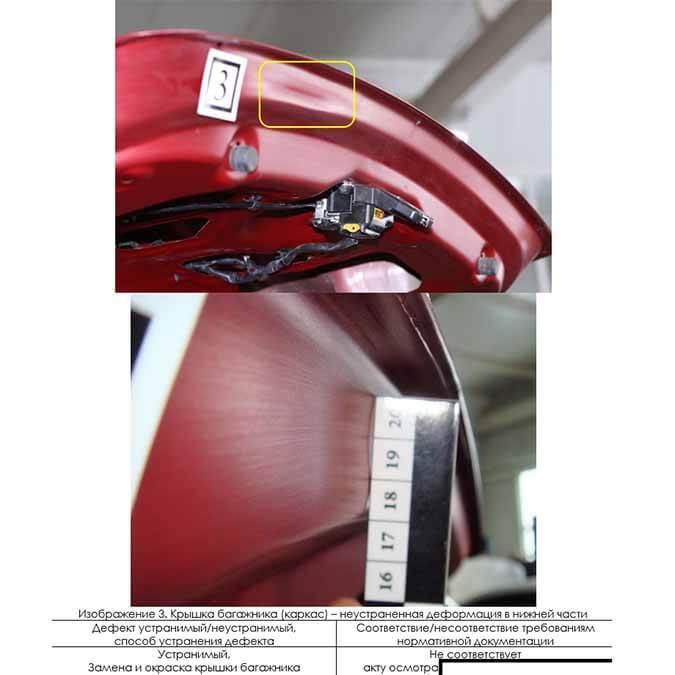 Неустранённая деформация каркаса крышки багажника
